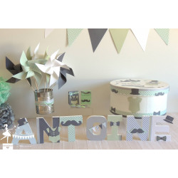 Ensemble baptême thème Dandy gris, blanc et vert mint