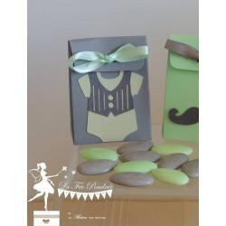 Boite grise thème Dandy ruban vert mint