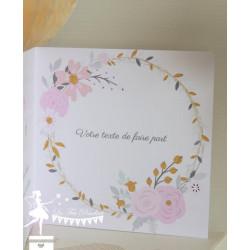 Faire part Licorne rose poudré, ivoire et doré