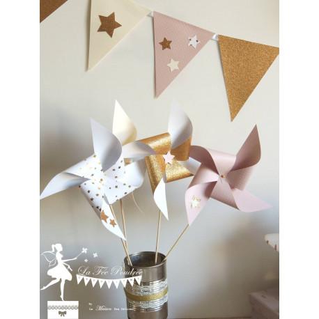 10 Moulins à vent rose pastel ivoire et doré décor étoile