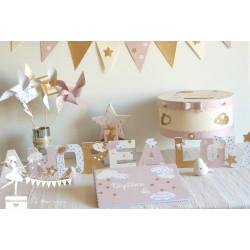 Ensemble baptême rose pastel ivoire et doré décor étoile et nuage