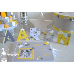 10 Moulins à vent jaune, gris et blanc décor étoile