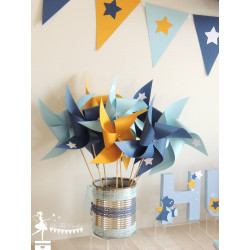 10 Moulins à vent bleu pastel, marine et jaune décor étoile