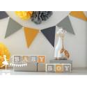 1 Cube prénom décoré jaune et gris