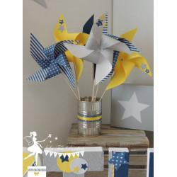 10 Moulins à vent bleu marine jaune et argent décor étoile