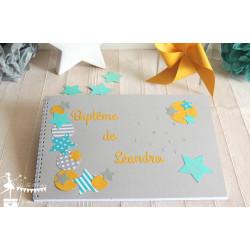 Livre d'or CLASSIQUE Etoile turquoise, gris et jaune safran