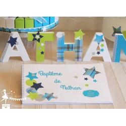 Livre d'or CLASSIQUE Etoile bleu turquoise, vert anis et blanc