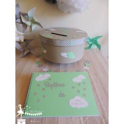 Livre d'or CLASSIQUE Etoile nuage vert mint gris argent & blanc