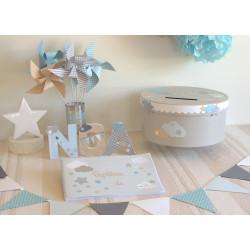 Ensemble de décoration baptême Nuage Etoile bleu gris & lin
