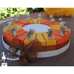 Gateau de dragées 24 parts orange et jaune