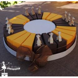 Gateau de dragées 24 parts chocolat et jaune