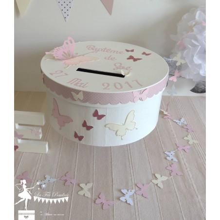 Guirlande de papillons cousue rose ivoire blanc