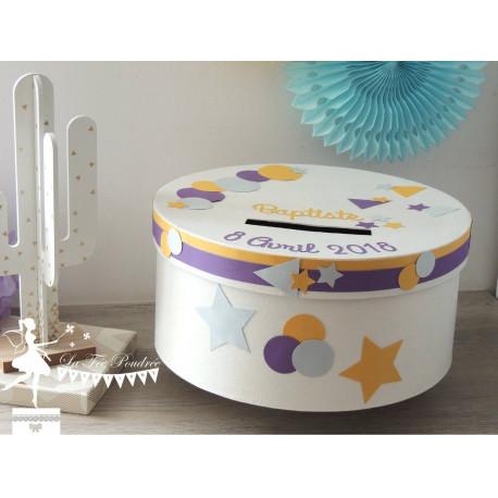 Urne CLASSIQUE motifs géométriques étoile bleu pastel violet jaune & blanc
