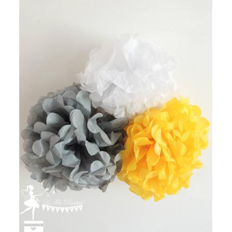 Lot de 8 pompons jaune gris et blanc