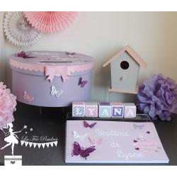 Ensembe de décoration rose parme et banc
