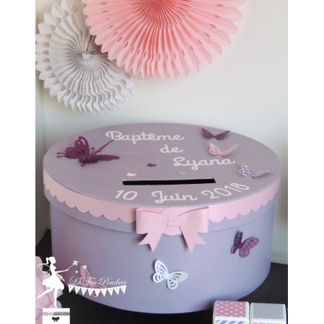 Urne ESSENTIELLE Papillon rose, parme & blanc