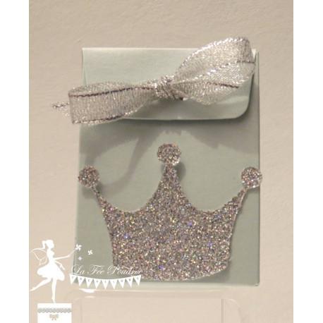 Boite à dragées bleu nacrée couronne et ruban argent