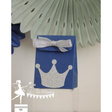 Boite à dragées bleu marine couronne et ruban argent