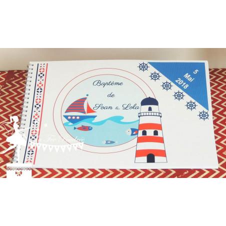 Livre d'or CLASSIQUE Mer bleu marine et blanc, touche de rouge