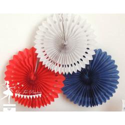 Lot de 3 pompons dentelle bleu marine blanc et rouge
