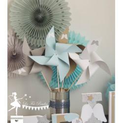 Ensemble moulins à vent, pompons et lettre décorée 12cm ange nuage et étoile bleu kraft gris et argent