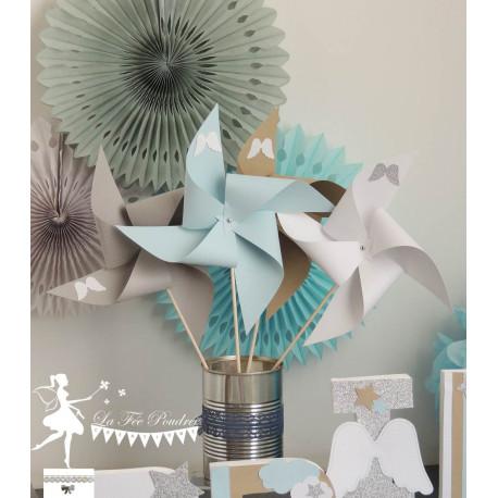 10 Moulins à vent bleu pastel gris blanc kraft décor ange