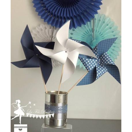 10 Moulins à vent  bleu marine & blanc