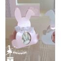 Boite Lapin rose nacrée et ruban blanc