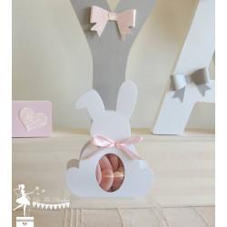 Boite Lapin blanc nacrée et ruban rose