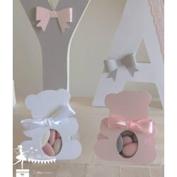 Boite Nounours rose nacré et ruban blanc