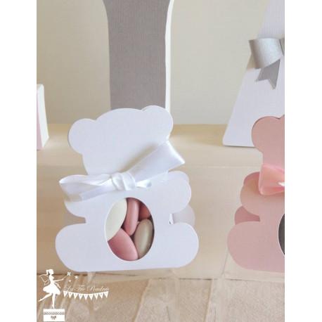 Boite Nounours blanc nacré et ruban rose