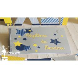 Livre d'or CLASSIQUE Etoile gris jaune et bleu marine