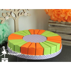 Gateau de dragées 24 parts vert anis et orange