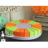 Gateau de dragées 24 parts vert anis et orange