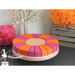 Gateau de dragées 24 parts rose fuchsia et orange