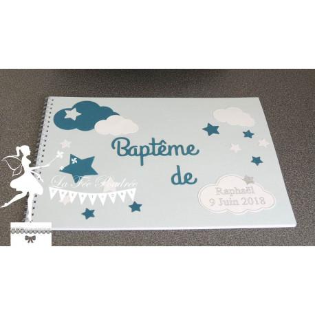 Livre d'or CLASSIQUE Etoile gris bleu marine et pastel