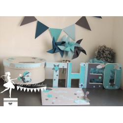 Guirlande de fanions bleu gris pétrole et turquoise