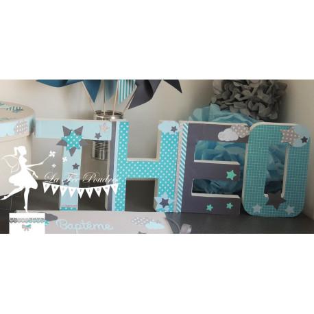 Lettre décorée 20 cm Etoiles turquoise bleu & gris