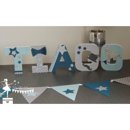 Lettre décorée 12cm thème Dandy, moustache gris, pétrole et bleu pastel