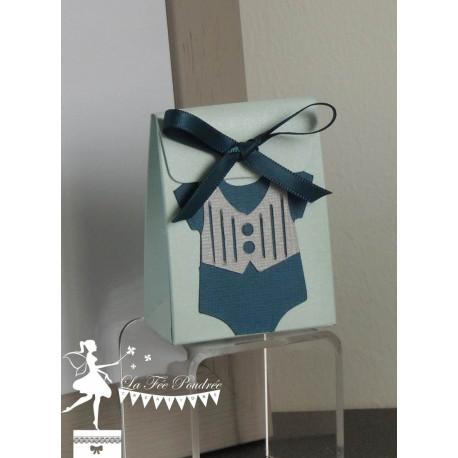 Boite bleu pastel thème Dandy ruban bleu marine