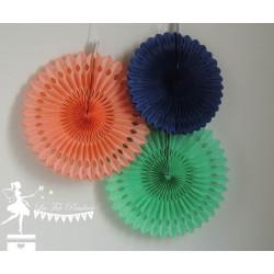 Lot de 3 pompons dentelle bleu marine, orange et vert mint