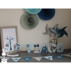 Arbre à empreintes thème Dandy, moustache et étoiles gris, pétrole et bleu pastel