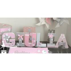 Lettre décorée 12cm étoile rose pastel, gris et blanc