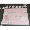 Livre d'or CLASSIQUE Etoile rose pastel, gris et blanc
