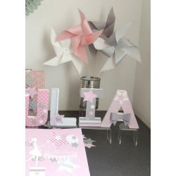 10 Moulins à vent rose pastel gris et blanc