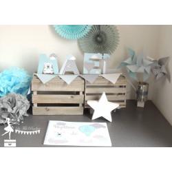 Lettre décorée 12cm thème Nuage, nounours et montgolfière bleu pastel gris et blanc