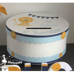 Urne ESSENTIELLE étoile lion bleu pastel, marine et jaune