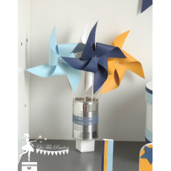 10 Moulins à vent bleu marine, pastel, jaune et blanc