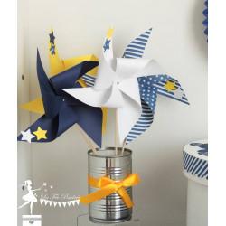 10 Moulins à vent bleu marine jaune blanc décor étoiles