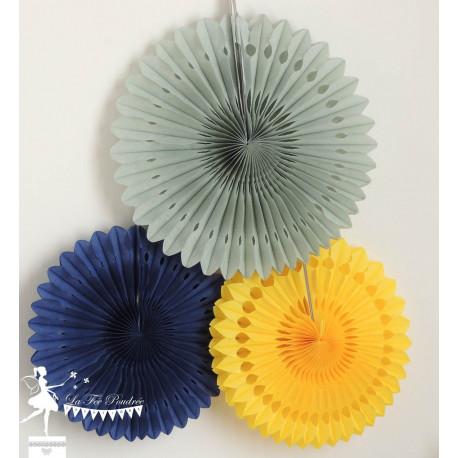 Lot de 3 pompons dentelle bleu marine, jaune et gris